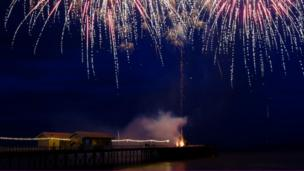 Fireworks over Penarth Pier