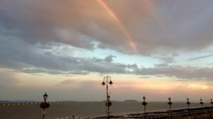 A rainbow captured by Mike Pender at Penarth Esplanade