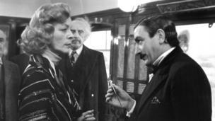 Finney as Poirot with Lauren Bacall