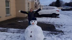 David Connolly was impressed with his snowman in Antrim
