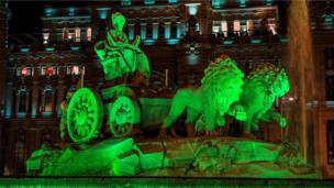 The Plaza de Cibeles fountain in Madrid, Spain