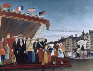 Paris diplomacy exhibition: The Representatives of Foreign Powers Coming to Greet the Republic as a Sign of Peace by Henri Rousseau