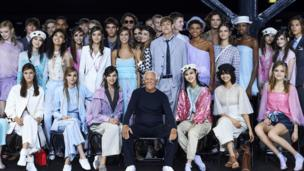 Giorgio Armani with models from his LFW show