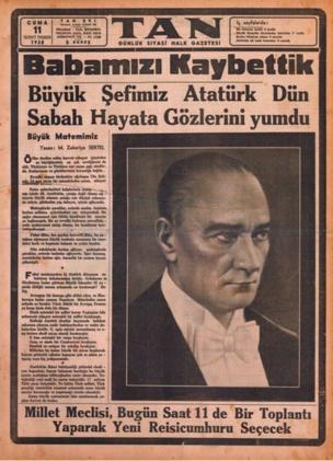 Tan gazetesi 11 kasım 1938 sayısı