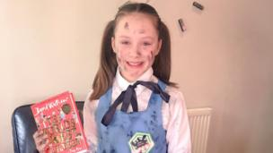 Child dressed as Grubby Gertrude for World Book Day
