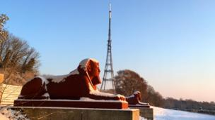 A blanket of snow makes the sphinxes at Crystal Palace even more dazzling than usual