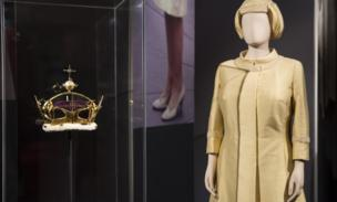 An outfit and coronet in the exhibition