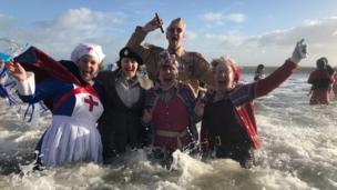 Saundersfoot New Year's Day swim