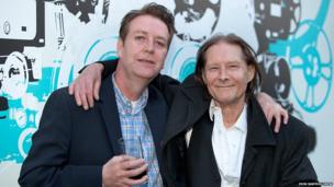 The film's writer, Innes Reekie, poses with old friend, Jo Callis, guitarist for the Rezillos and The Human League