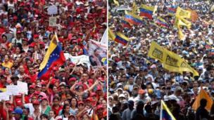 Marchas del oficialismo y la oposición