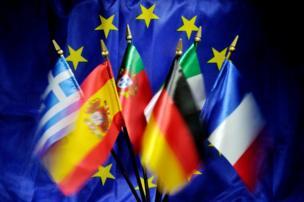 યુરોપિયન યુનિયન સાથે યુરોપના દેશના ધ્વજ