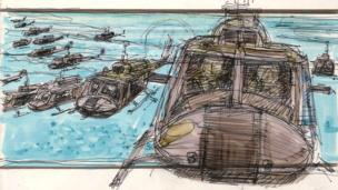 Colour storyboard artwork from the film Apocalypse Now, 1979