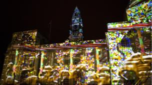 Buildings on Cathays Park were lit up on Saturday night