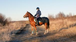 A picture of a horse and rider, posted on Twitter by Izabelle Marmfors, as part of the #blueforBonnie campaign