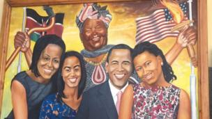 Mchoro wa Bibi yake Obama Sarah Obama pamoja na familia ya Obama