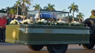 The urn with the ashes of Cuban leader Fidel Castro leave the Revolution Square in Havana starting a four-day journey across Cuba, November 30, 2016