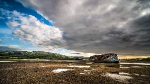 This photograph of a shipwreck on Traeth Dulas, on Anglesey, was captured by DG Plant.