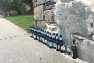 Bottle by a wall