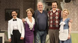 John Cleese with the cast of a new stage version of Fawlty Towers