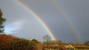 Double rainbow in Carmel, Carmarthenshire
