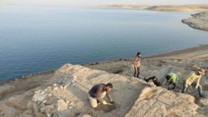 Excavaciones del palacio en la costa