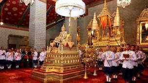 Thai King Maha Vajiralongkorn Bodindradebayavarangkun (C) sitting on the throne during his coronation ceremony at the Grand Palace in Bangkok, Thailand, 04 May 2019 (