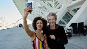 Doctor Who actor Peter Capaldi and new companion, played by Pearl Mackie