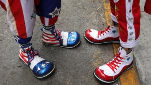 Clowns shoes are seen during Peru's Clown Day celebrations in Lima, Peru May 25, 2018