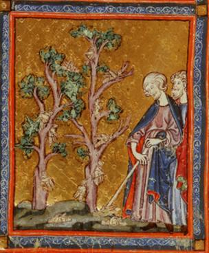 Ilustração de livro de oração de família judaica, que data do século 14, retrata praga de gafanhotos