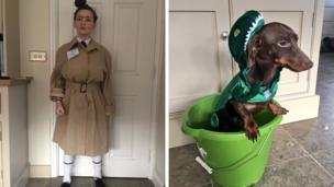 child and dog dressed up for World Book Day