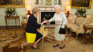 Theresa May with the Queen
