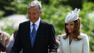 David and Jane Matthews, parents of the groom, attend the wedding of Pippa Middleton and their son James Matthews
