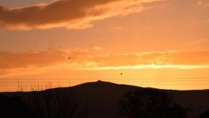 Dawn sky above Moel Famau, Mold