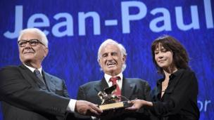Jean-Paul Belmondo with Paolo Baratta and Sophie Marceau