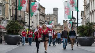 Supporters outside the Principality Stadium, Cardiff