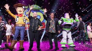 (L-R) Composer Randy Newman of Toy Story 1,2 and 3 and director John Lasseter of Toy Story 4