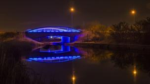 Blue bridge at the Helix, Falkirk