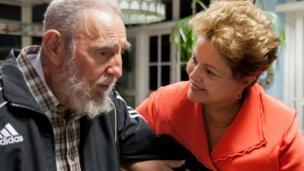 Dilma Rousseff com Fidel Castro em Havana