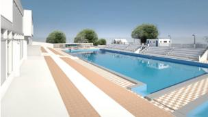 View of the pool from the terrace