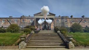A 21-gun salute being fired at Hillsborough Castle near Belfast