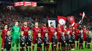 The Liverpool team line up prior to the UEFA Champions League group E match between Liverpool FC and Spartak Moscow at Anfield on December 6, 2017 in Liverpool, United Kingdom