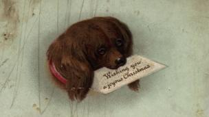 Victorian Christmas card with a sad dog