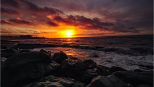 Aberystwyth beach, Ceredigion at sunset