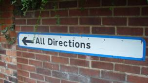 Sign saying all directions