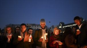 Vigil in Trafalgar Square, Thursday evening.