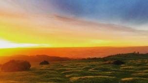 Colourful sunset at Hay Bluff, near Hay-on-Wye, Powys