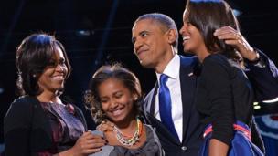Obama family on election night 2012
