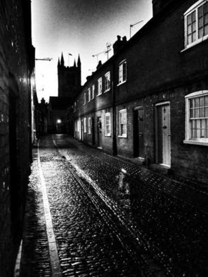 St Andrews Church Farnham on a wet January night
