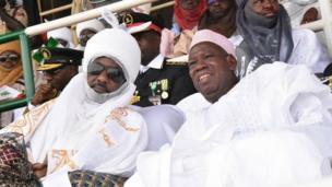 Sarkin Kano Muhammadu Sanusi na Biyu tare da Gwamna Ganduje a wurin bikin
