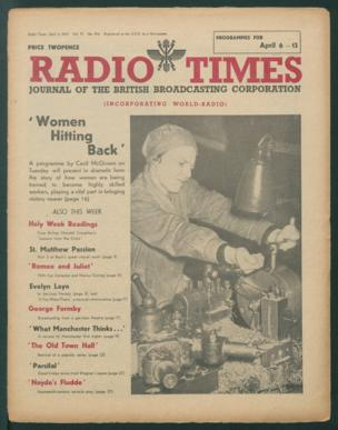 """Front cover: 'Women Hitting Back' - promoting a programme on women trained as highly skilled workers """"playing a vital part in bringing victory nearer"""""""
